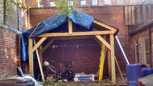 The new bike shed under construction