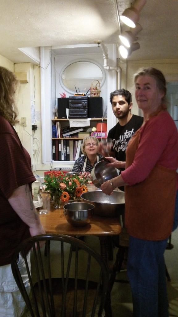 Preparing dinner for house alumni