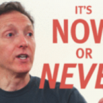 "on a red background, a photo of Judah Leblang with the words ""IT'S NOW OR NEVER"""