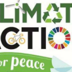 "the words ""climate action for peace,"" embellished with the recycling symbol, a dove, a bicycle, and a windmill, against a green background"