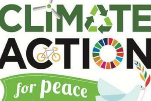 """the words """"climate action for peace,"""" embellished with the recycling symbol, a dove, a bicycle, and a windmill, against a green background"""