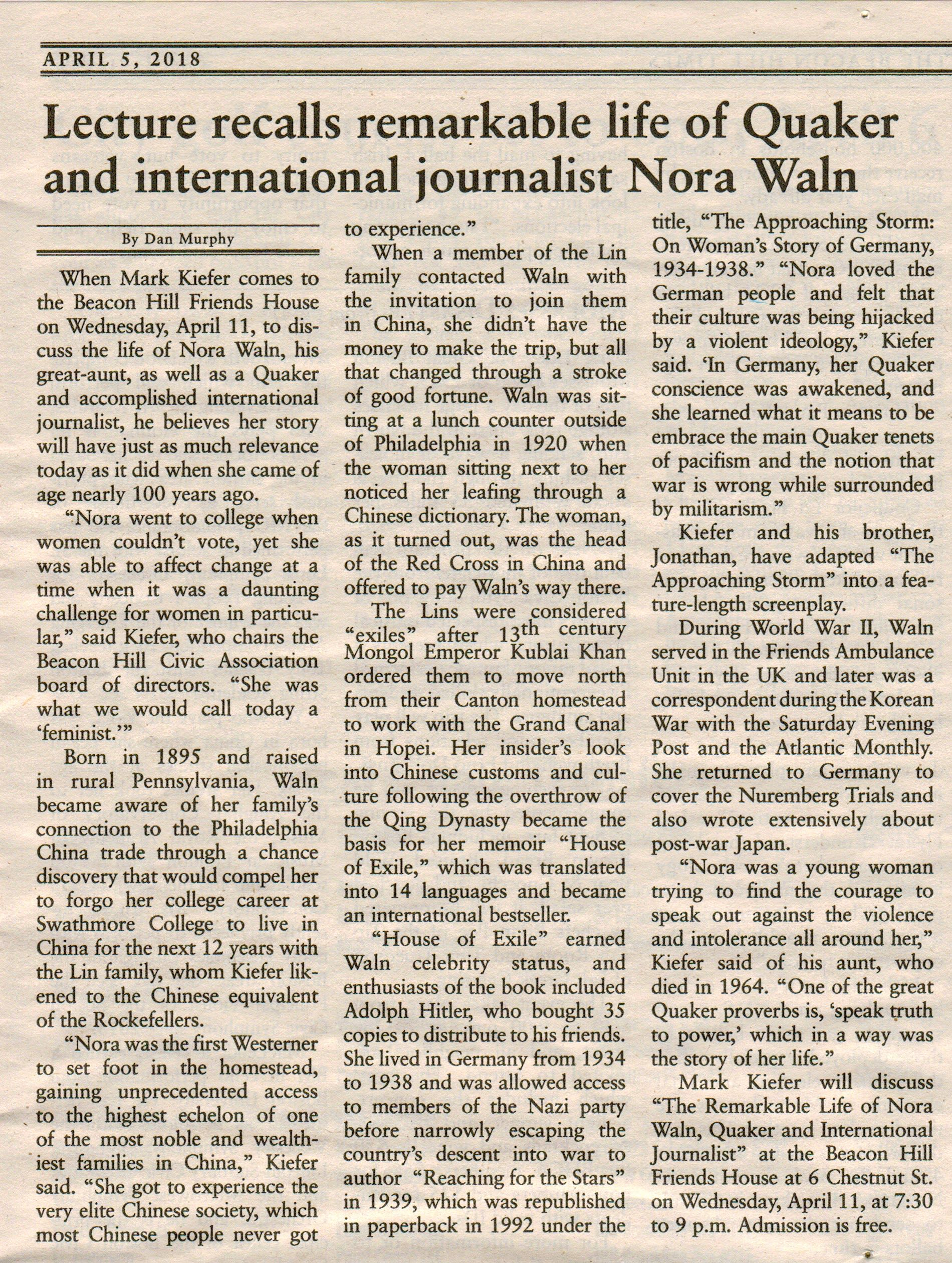 Article in Beacon Hill Times on Upcoming Nora Waln Event