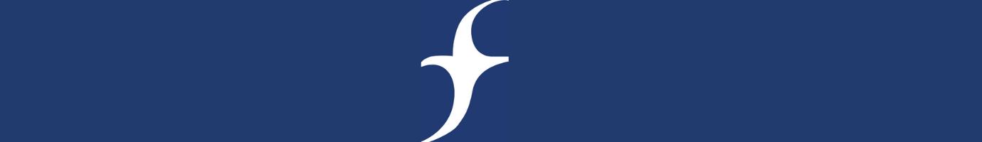FCNL logo (stylized 'f') white on blue background