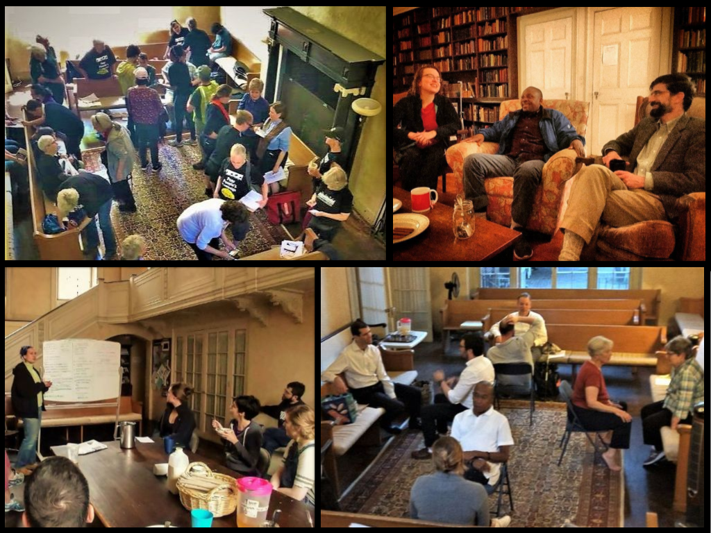 Collage of four photos showing groups of people gathering in the Friends House