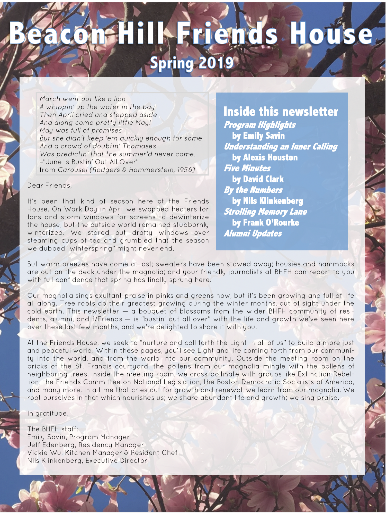 First page of spring/summer 2019 newsletter