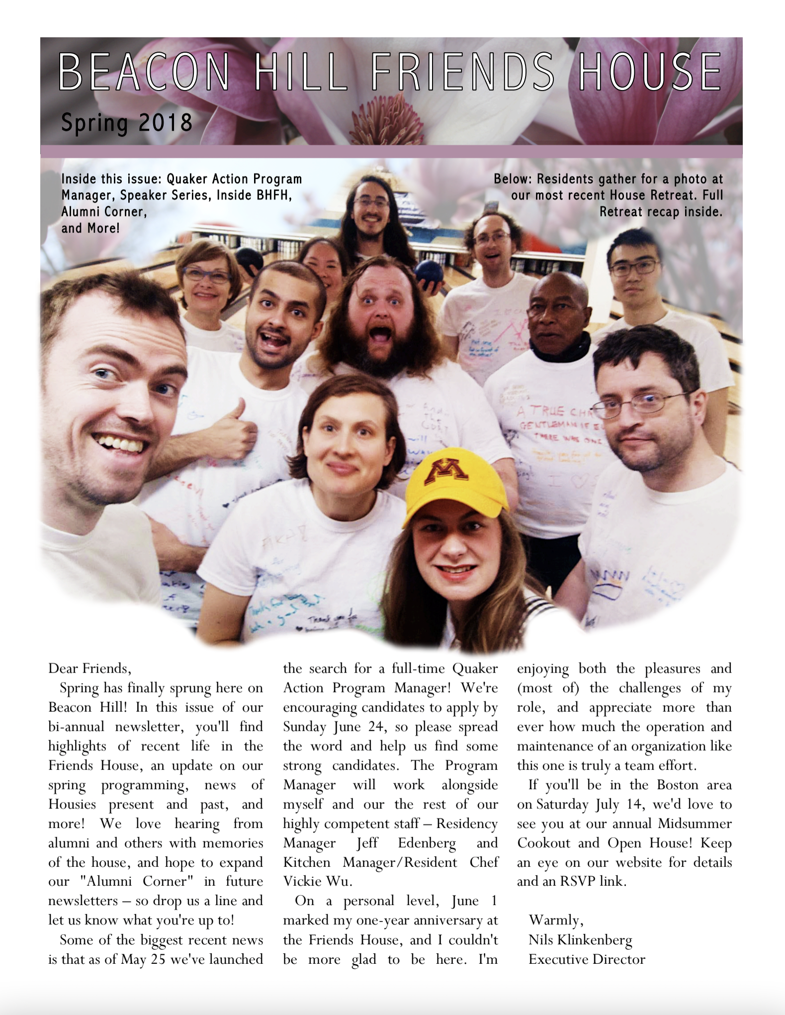 First page of spring/summer 2018 newsletter
