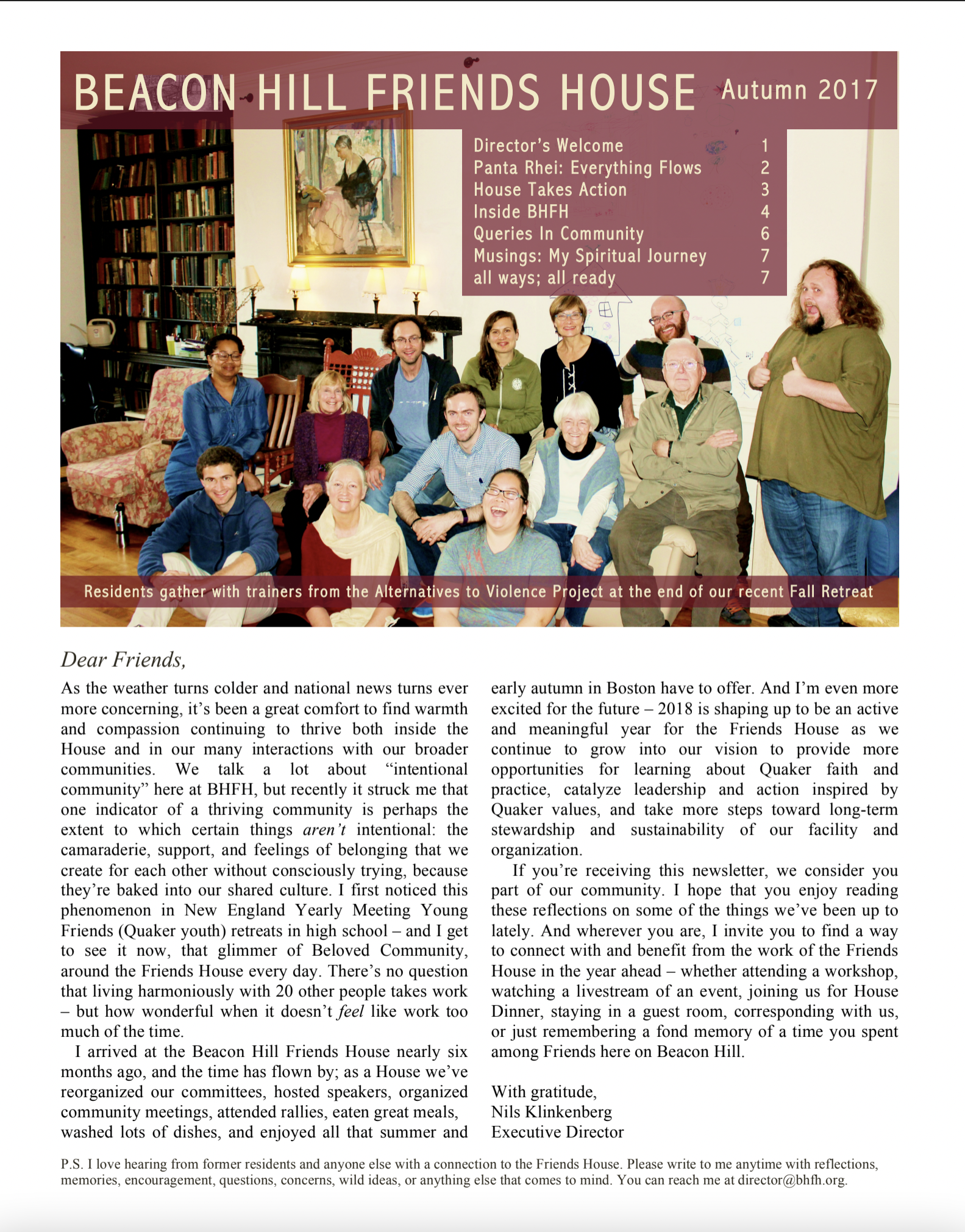 First page of fall/winter 2017 newsletter