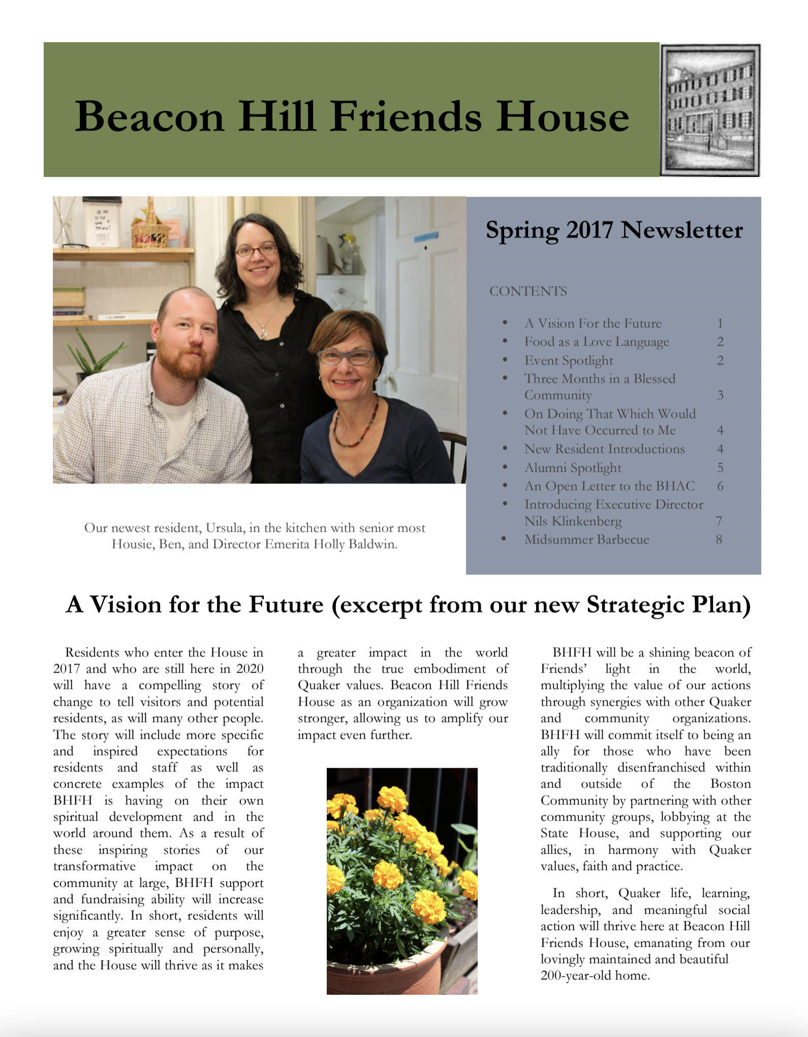 First page of spring/summer 2017 newsletter