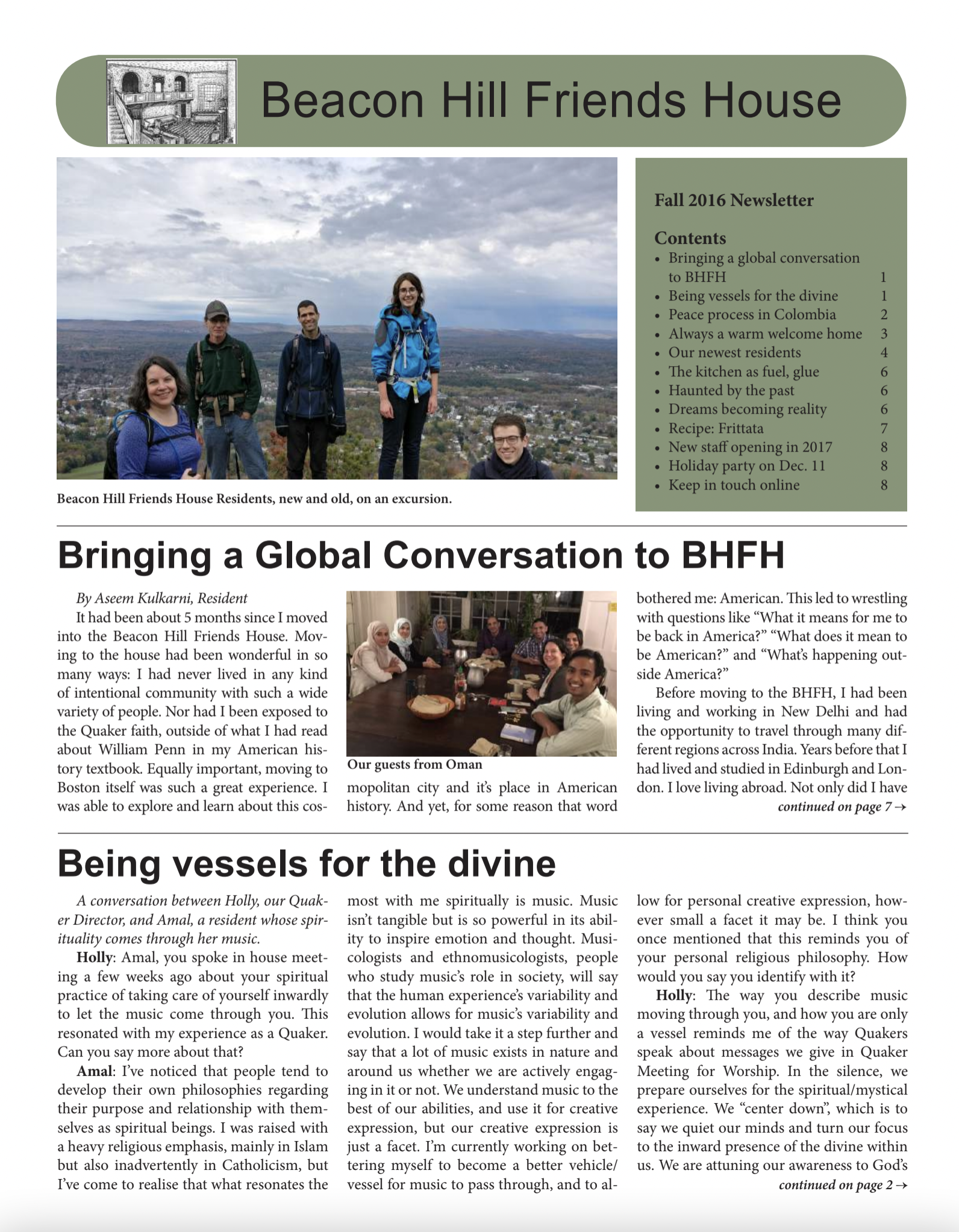 First page of fall/winter 2016 newsletter
