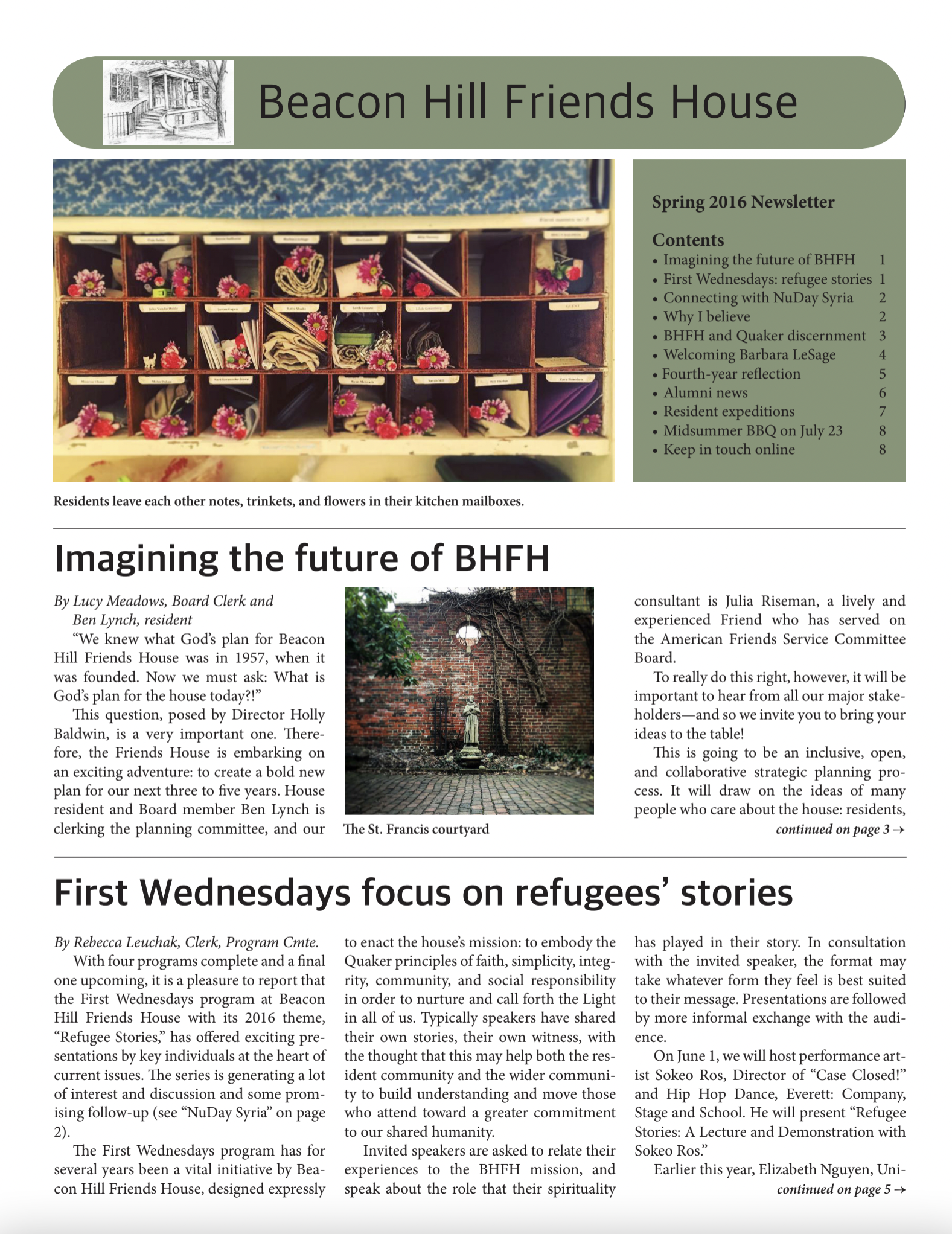 First page of spring/summer 2016 newsletter