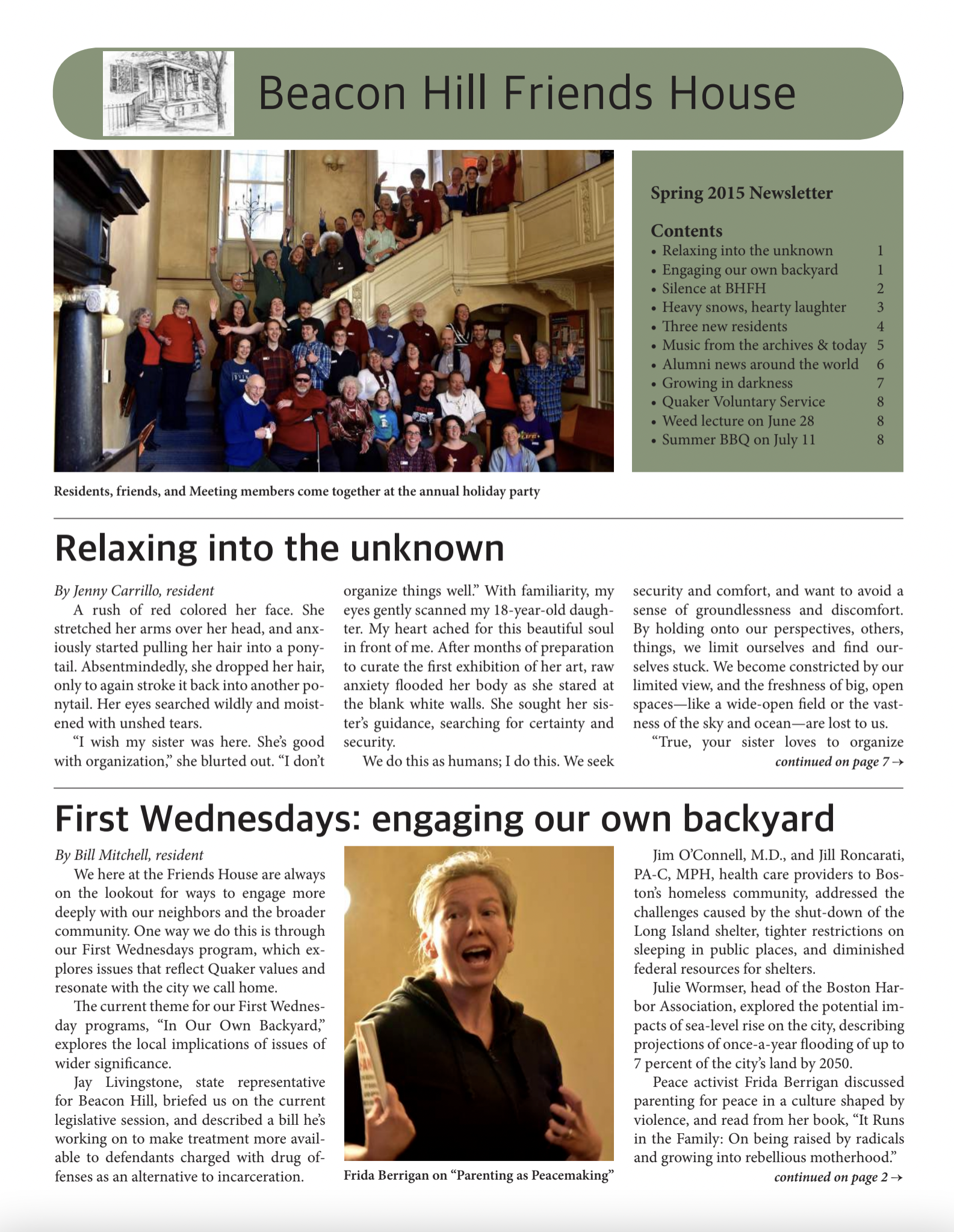 First page of spring/summer 2015 newsletter
