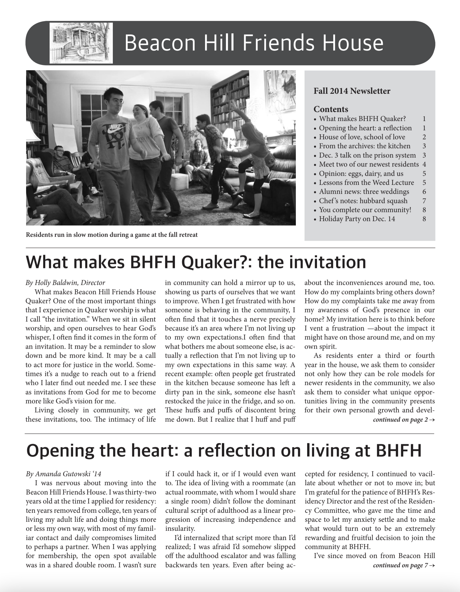 First page of fall/winter 2014 newsletter