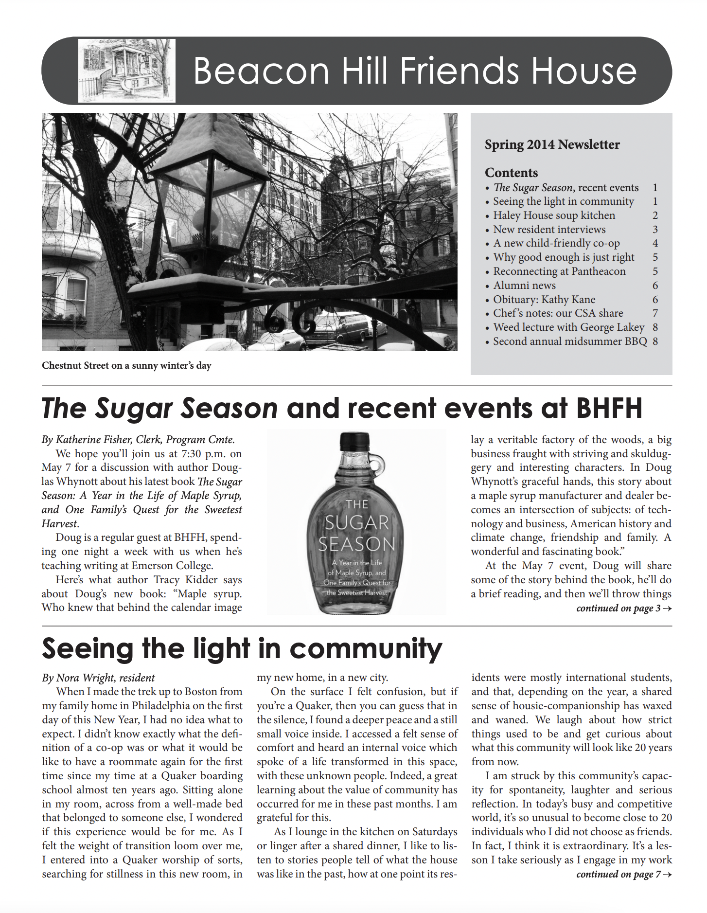 First page of spring/summer 2014 newsletter