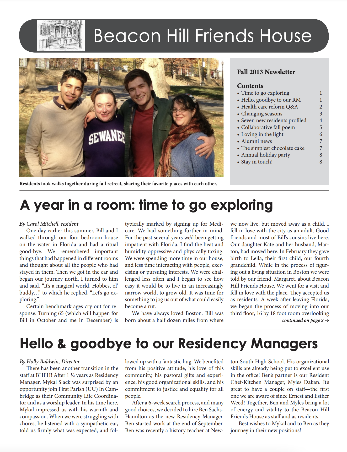 First page of fall/winter 2013 newsletter