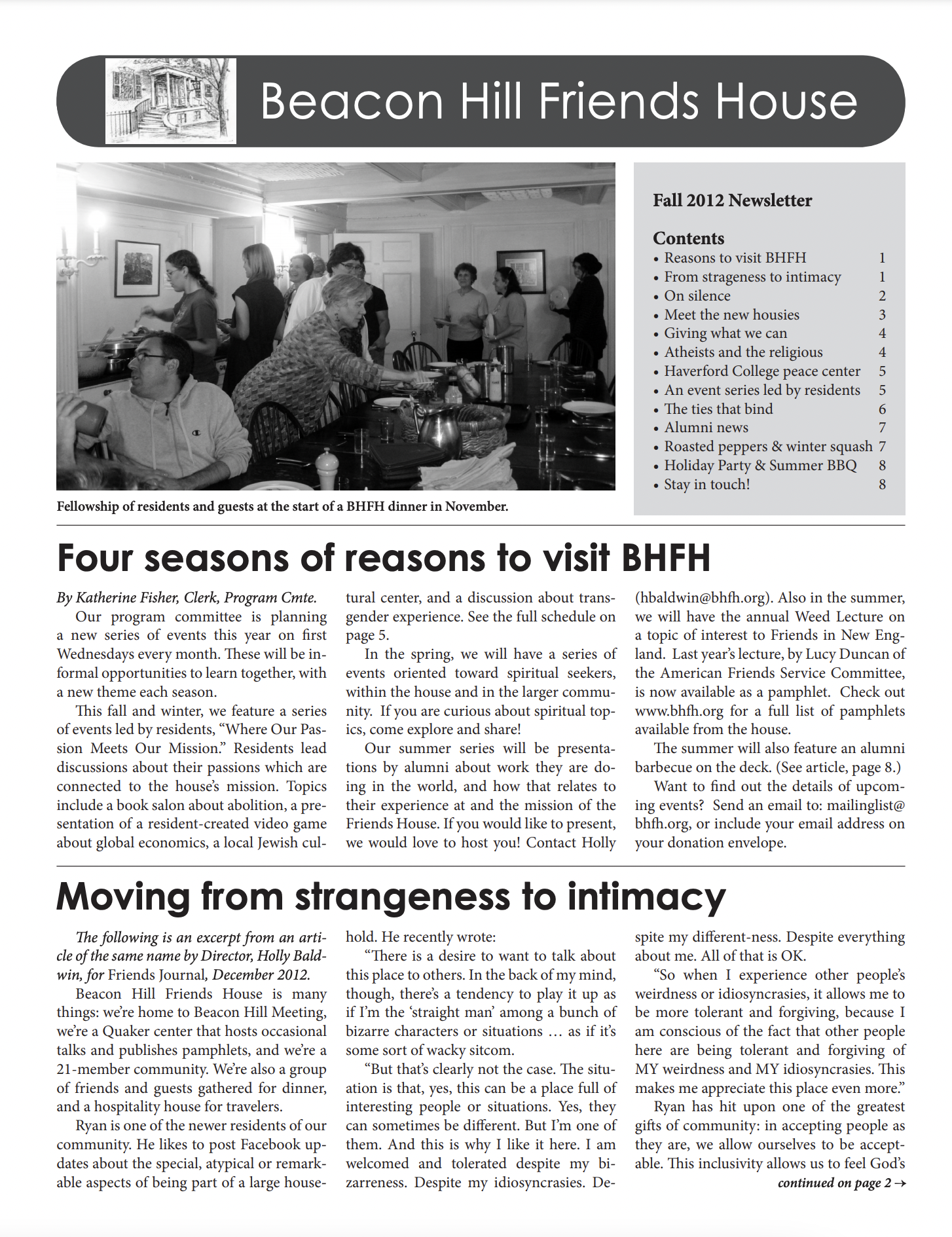 first page of fall/winter 2012 newsletter