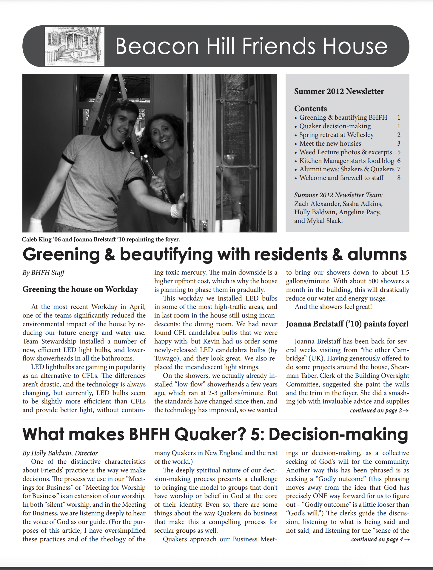 First page of spring/summer 2012 newsletter