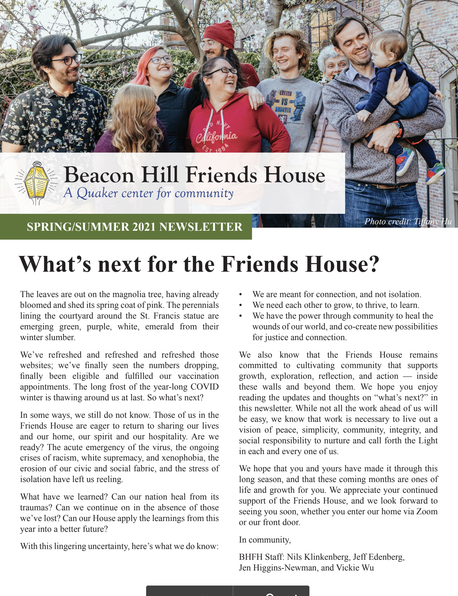 Front page of the Friends House Newsletter: What's next for the Friends House