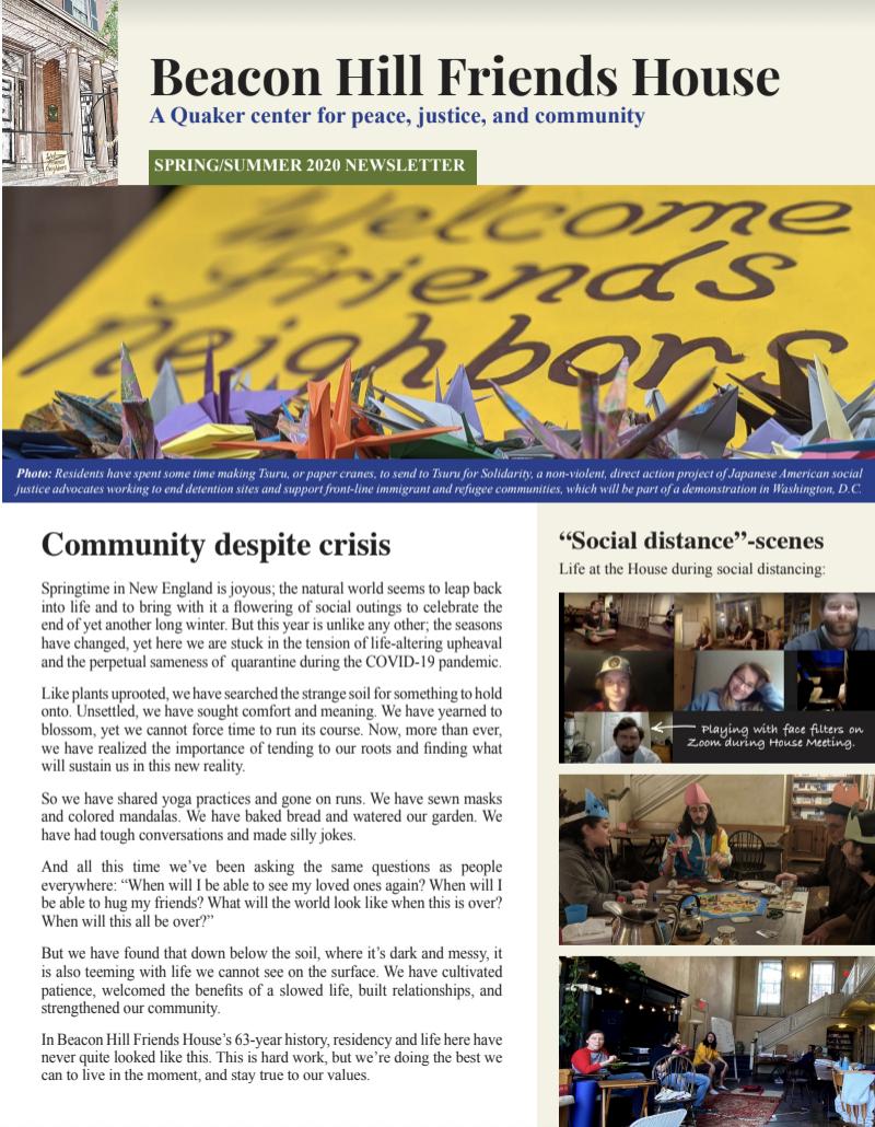 BHFH Spring/Summer 2020 newsletter cover: Community Despite Crisis